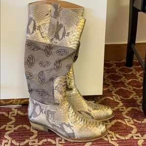 Snake skin printed canvas zipper knee boots 37